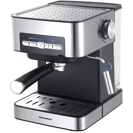 Еспресо машина Heinner HEM-B2016SA, 20 bar, 850W, Сваляем резервоар за вода 1.6 л, Предварително зададени опции за дълго / късо еспресо, Филтър от неръждаема стомана, Декорации от Inox