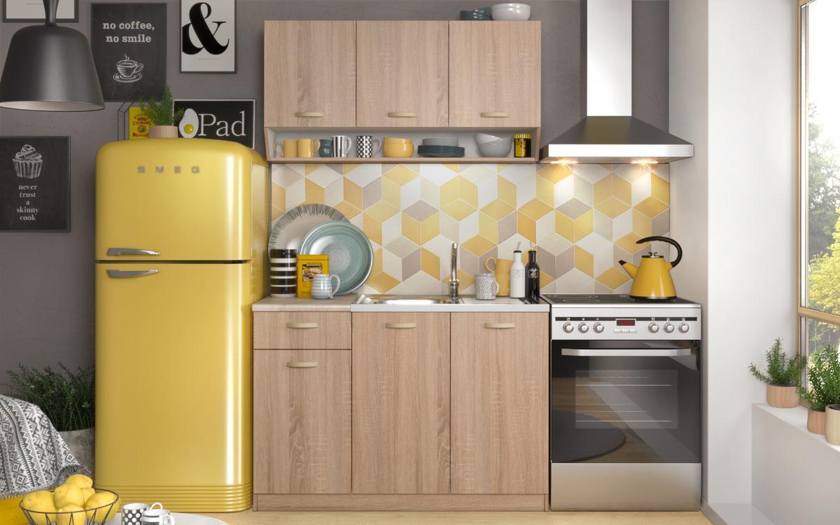Кухня Арета , дъб сонома + бяло