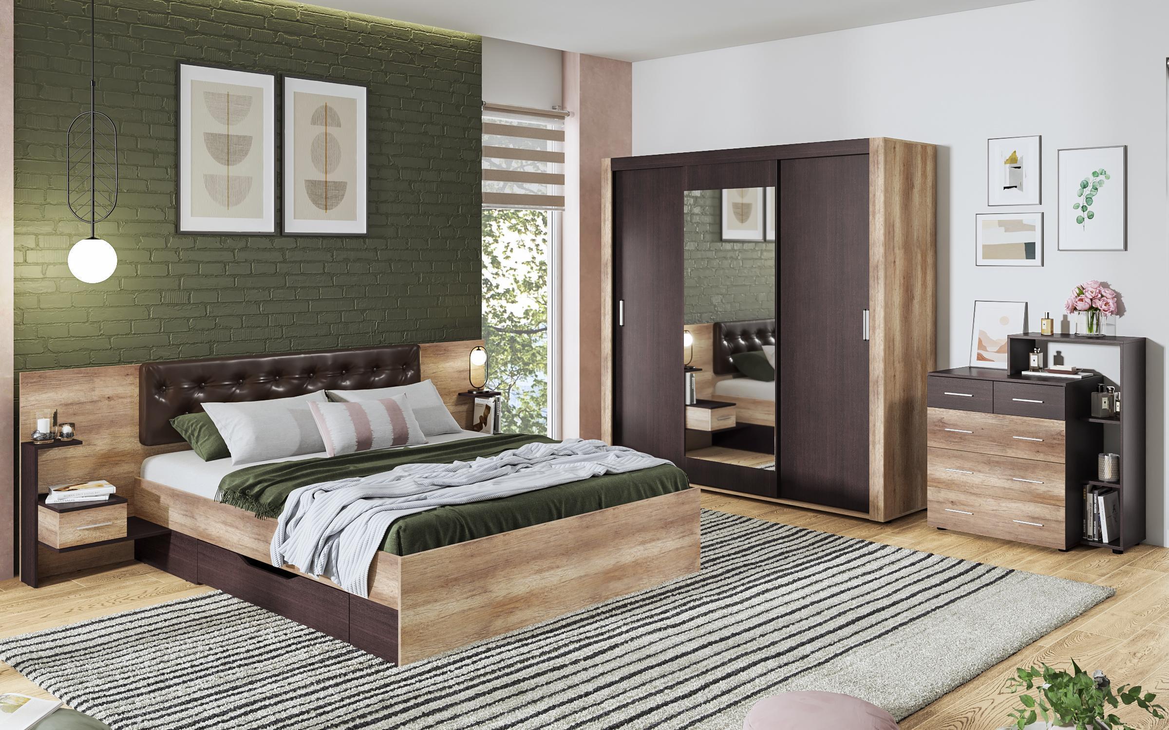 Спален комплект Сандеро , аляска + венге