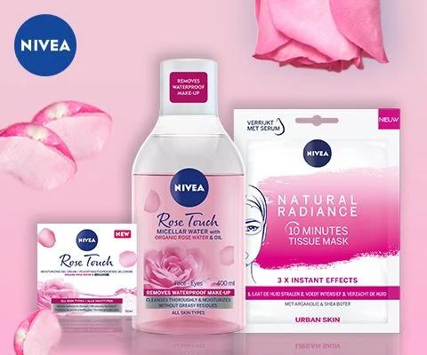 NIVEA Бюти бокс – крем за лице 50мл + мицеларна вода с розово масло 400мл + лист маска за лице 1бр
