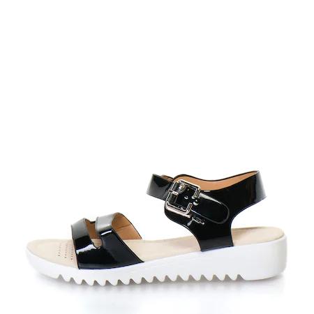 Дамски сандали с две каишки Release, Ниска подметка, Синтетична кожа,Черни