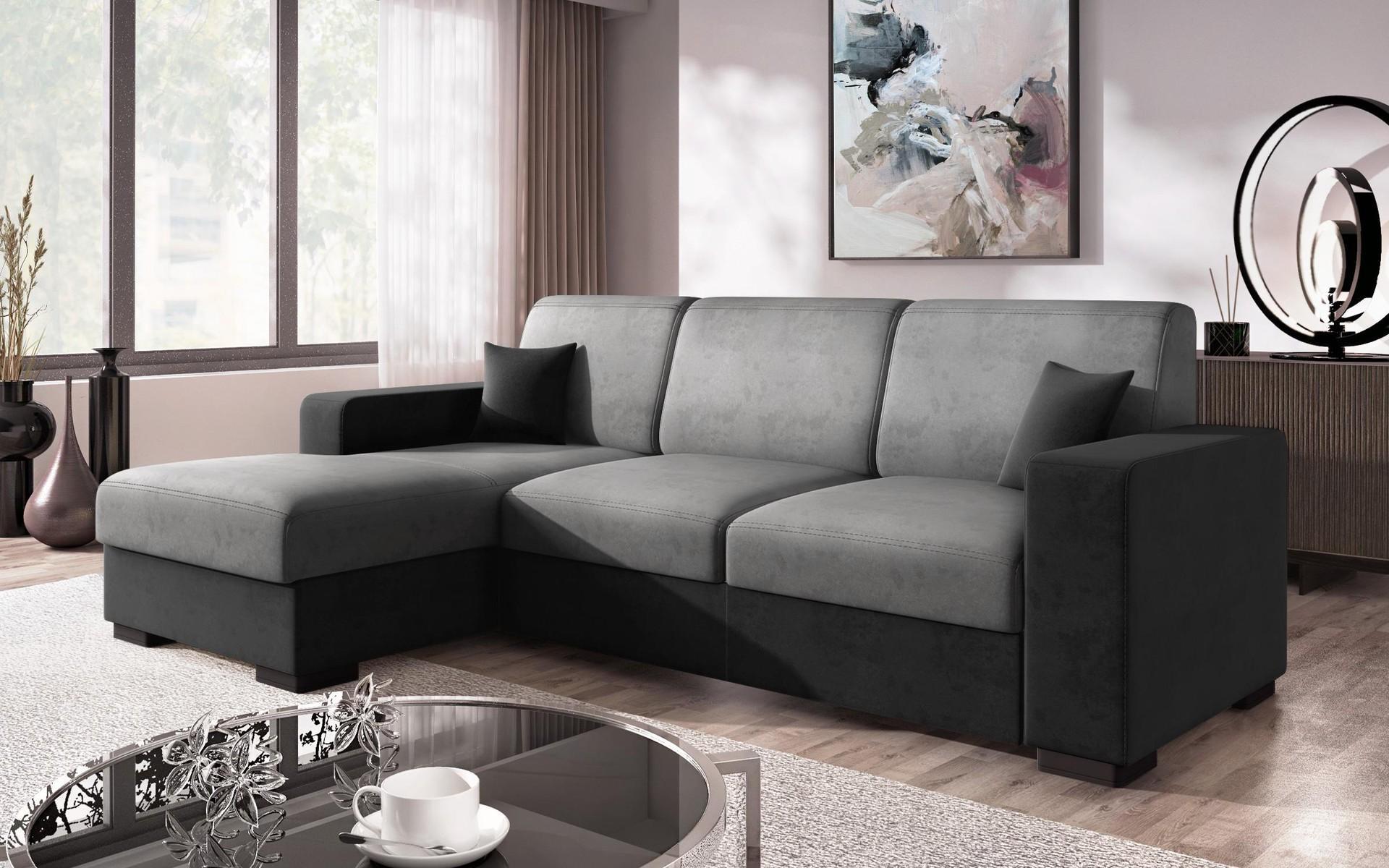 Разтегателен диван Лазур , сив + черно