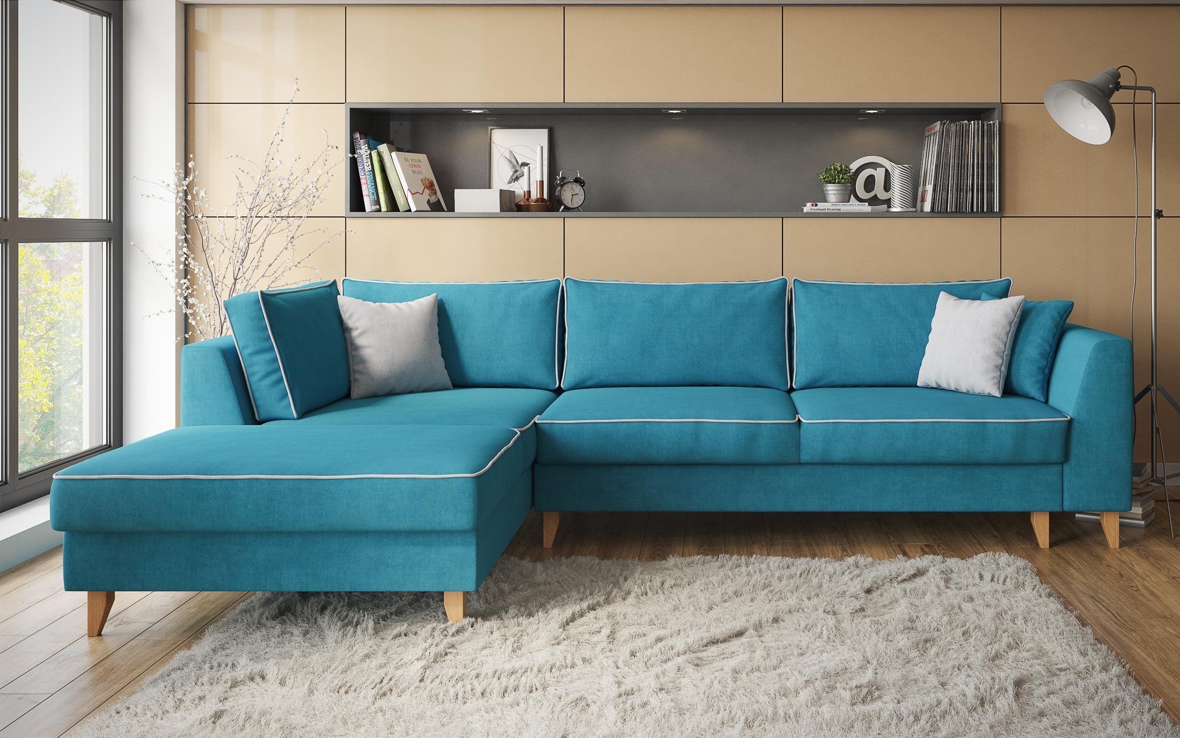 Разтегателен диван Болоня , син лазур + светло сиво