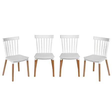 Комплект 4 стола Kring Herbie, PP + дърво, Бял