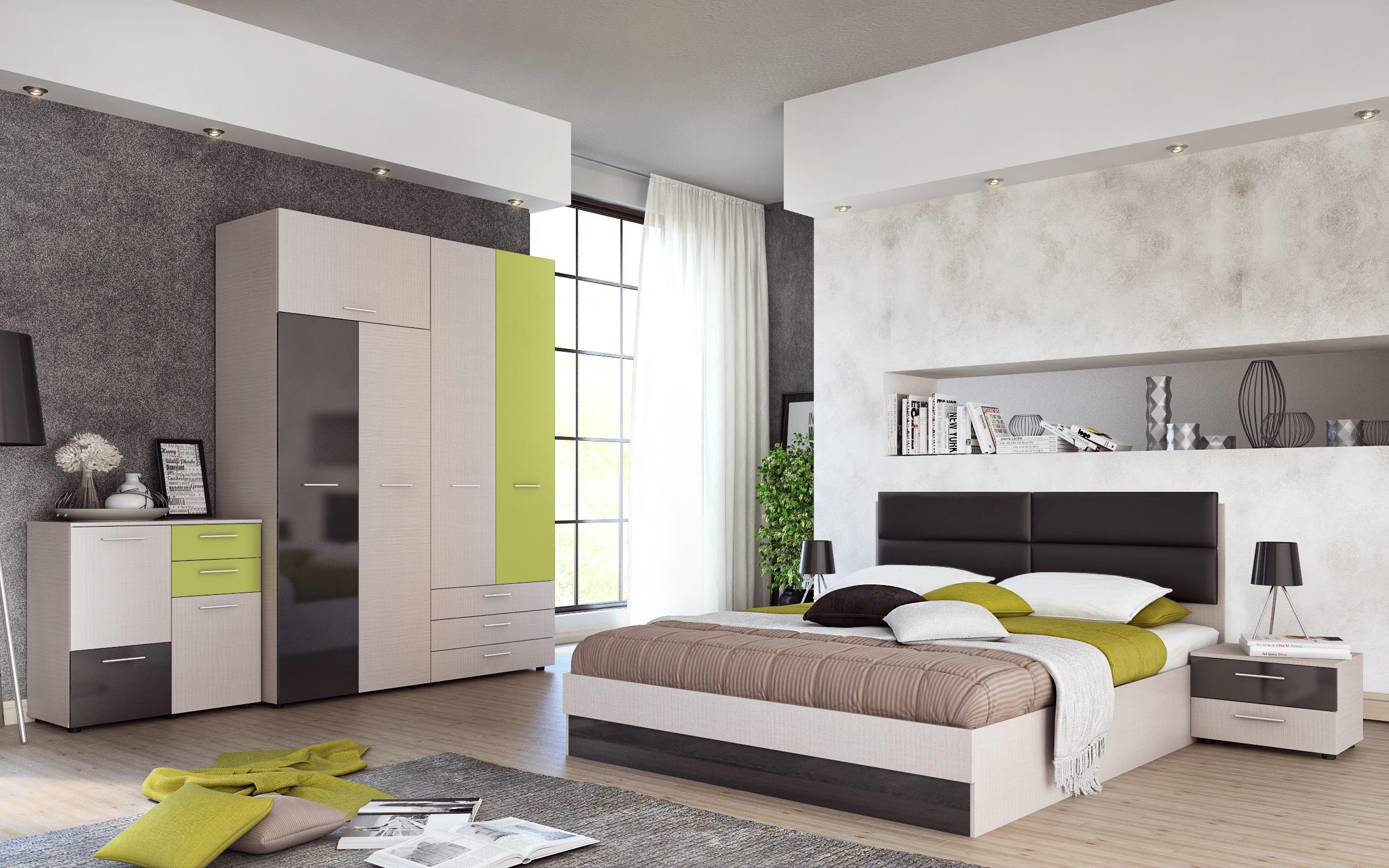Спален комплект Фабиано II , светъл периер + антрацит гланц и зелен океан