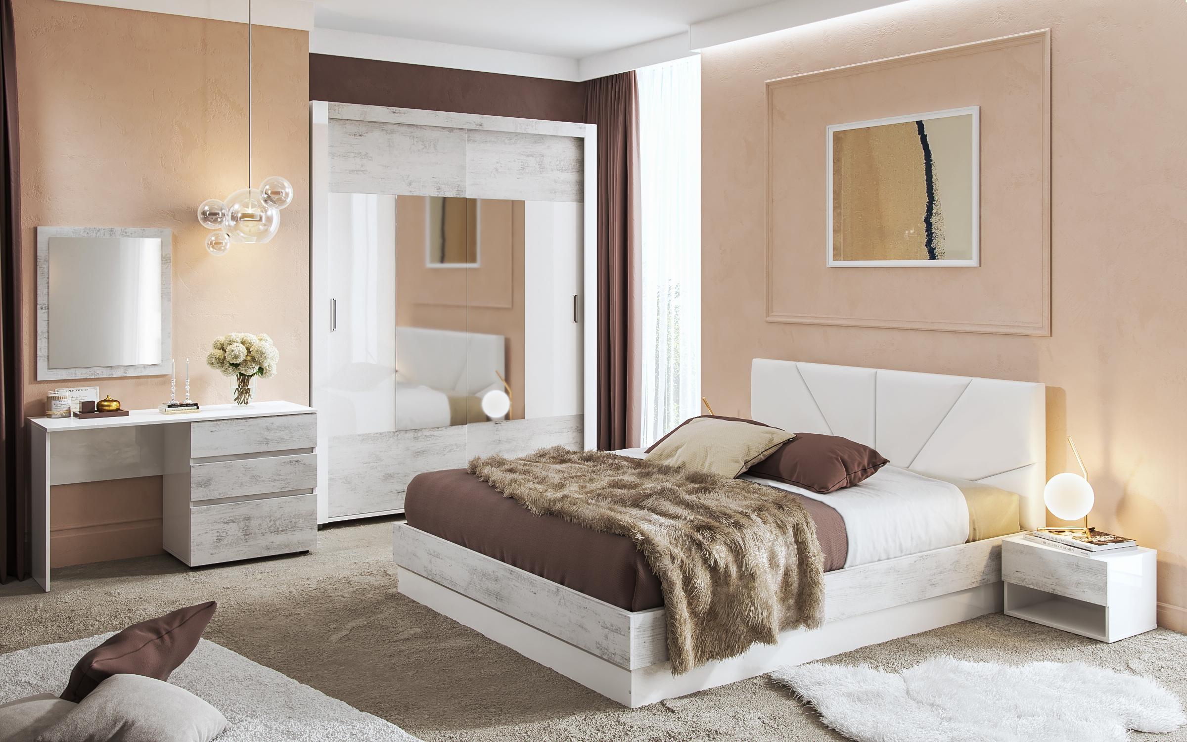 Спален комплект Зора , дъб антик + бял гланц
