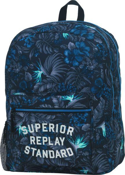 Ученическа раница Replay – Синя с цветя, с две отделения
