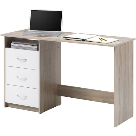 Бюро Adria, 120x76x50 см, 3 чекмеджета, PVC, Бял/ Дъб
