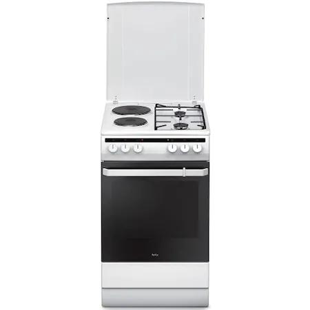 Готварска печка Amica 508Me2.35Ehzpp(W), Енергиен клас А, Мощност 5900W, Твърда нагревателна плоча, Обем на фурната 65л, Бял