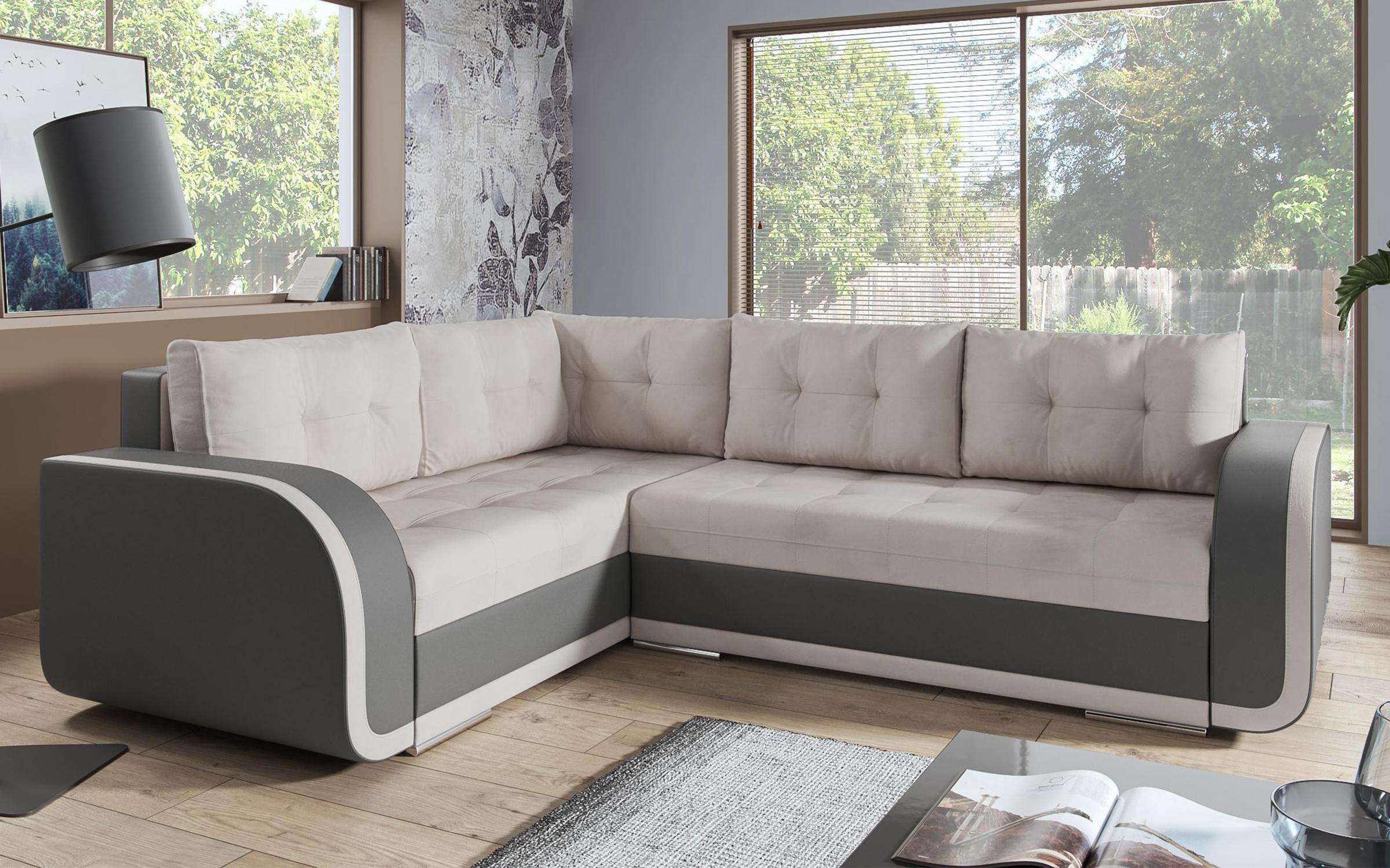 Разтегателен диван Холидей , светло бежов + сива кожа