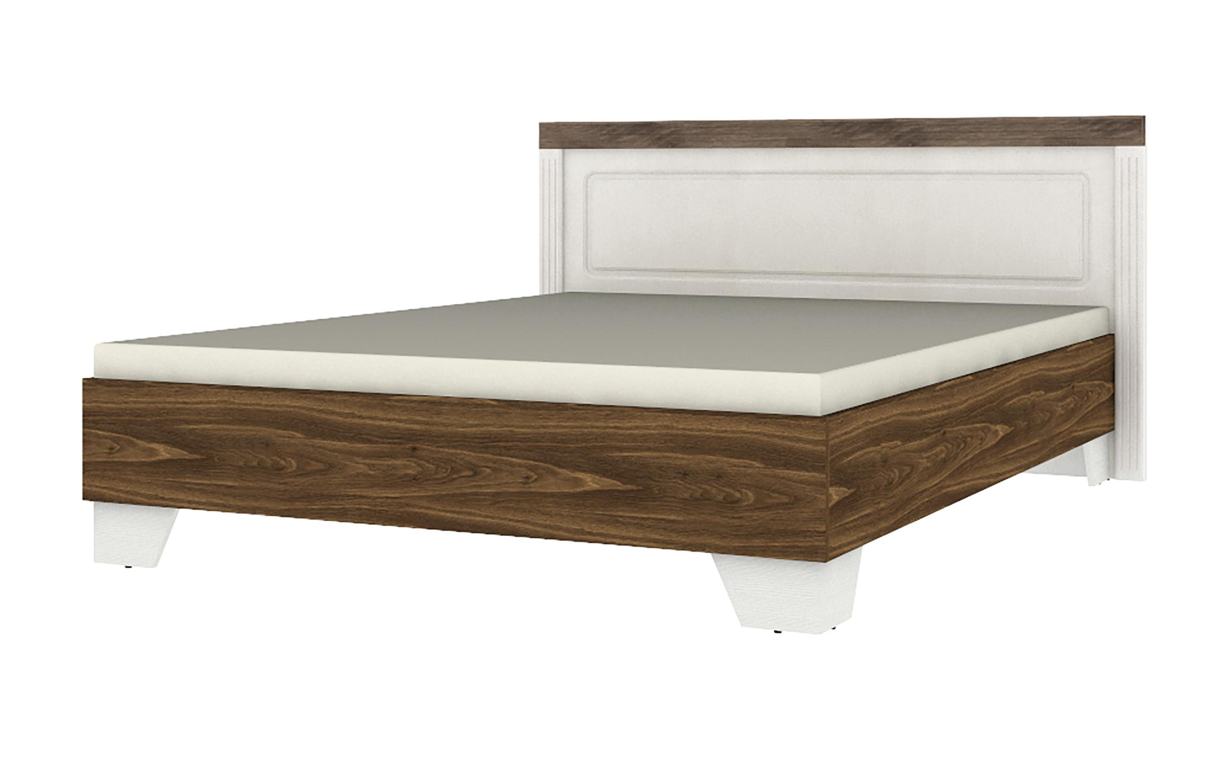 Спалня Норма за матрак 160/200 , бяло текстура + дъб bourbon