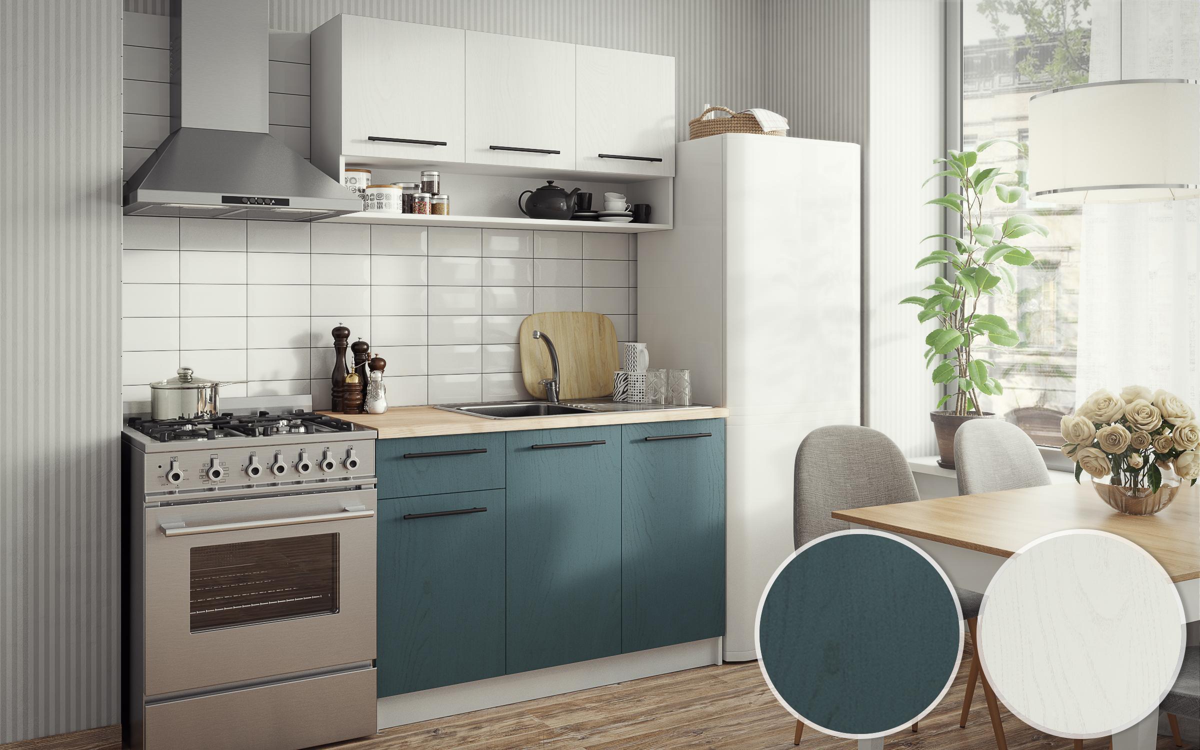 Кухня Тифани , бял + тюркоаз