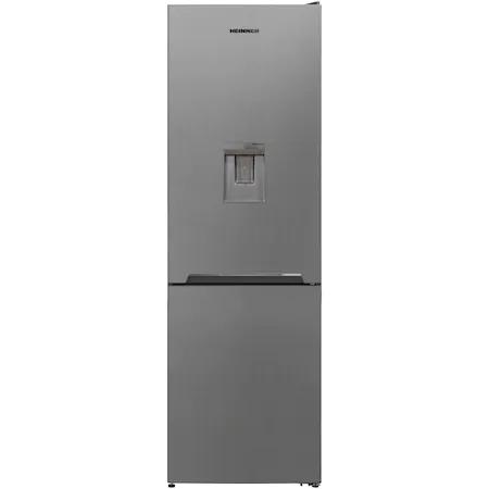 Хладилник с фризер Heinner HCNF-V291XWDF+, 295 л, Full No Frost, Диспенсър за вода, Функция за супер замразяване, Клас F, 186 см, Сребрист