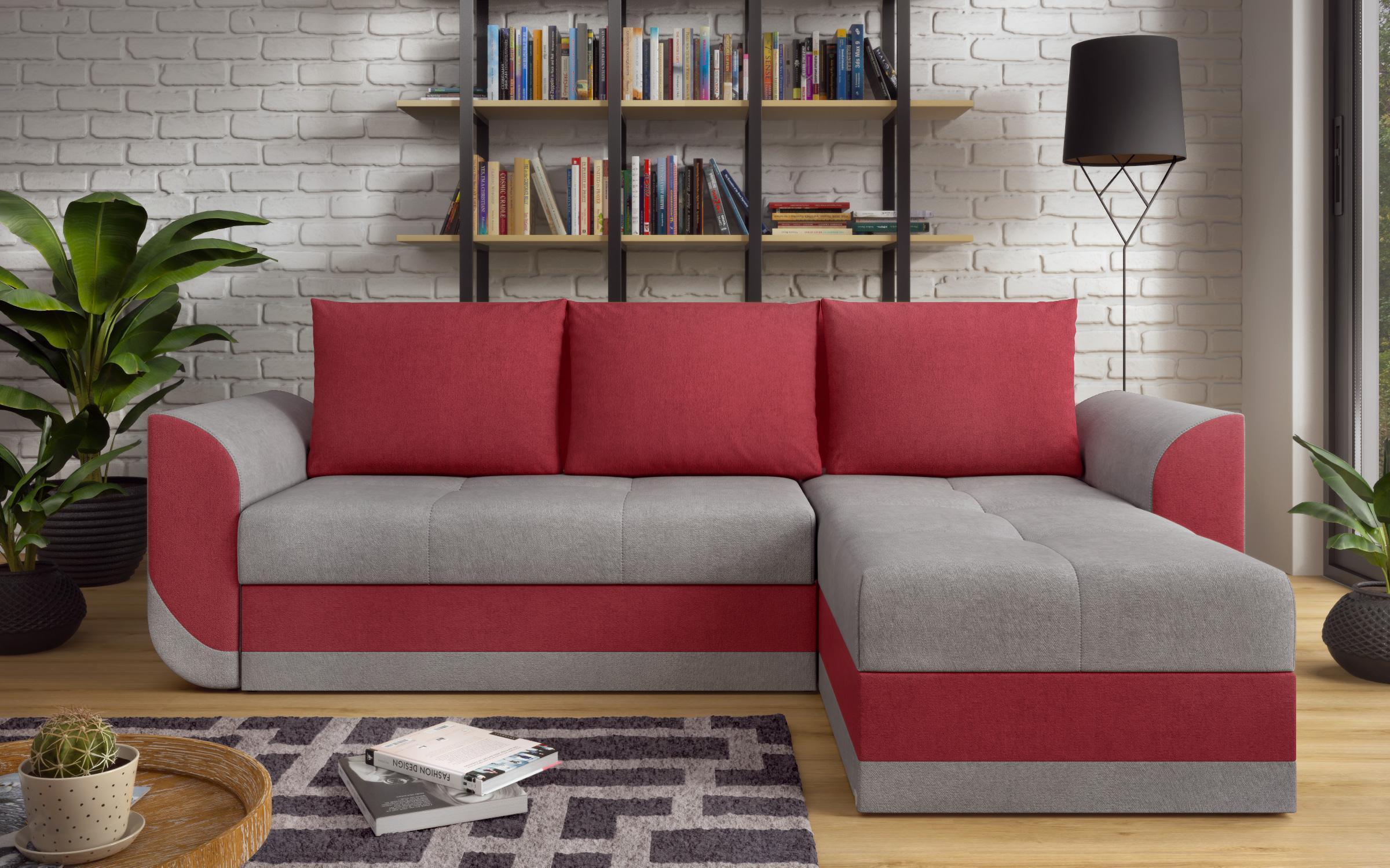Разтегателен диван Хилтън , сив + червен