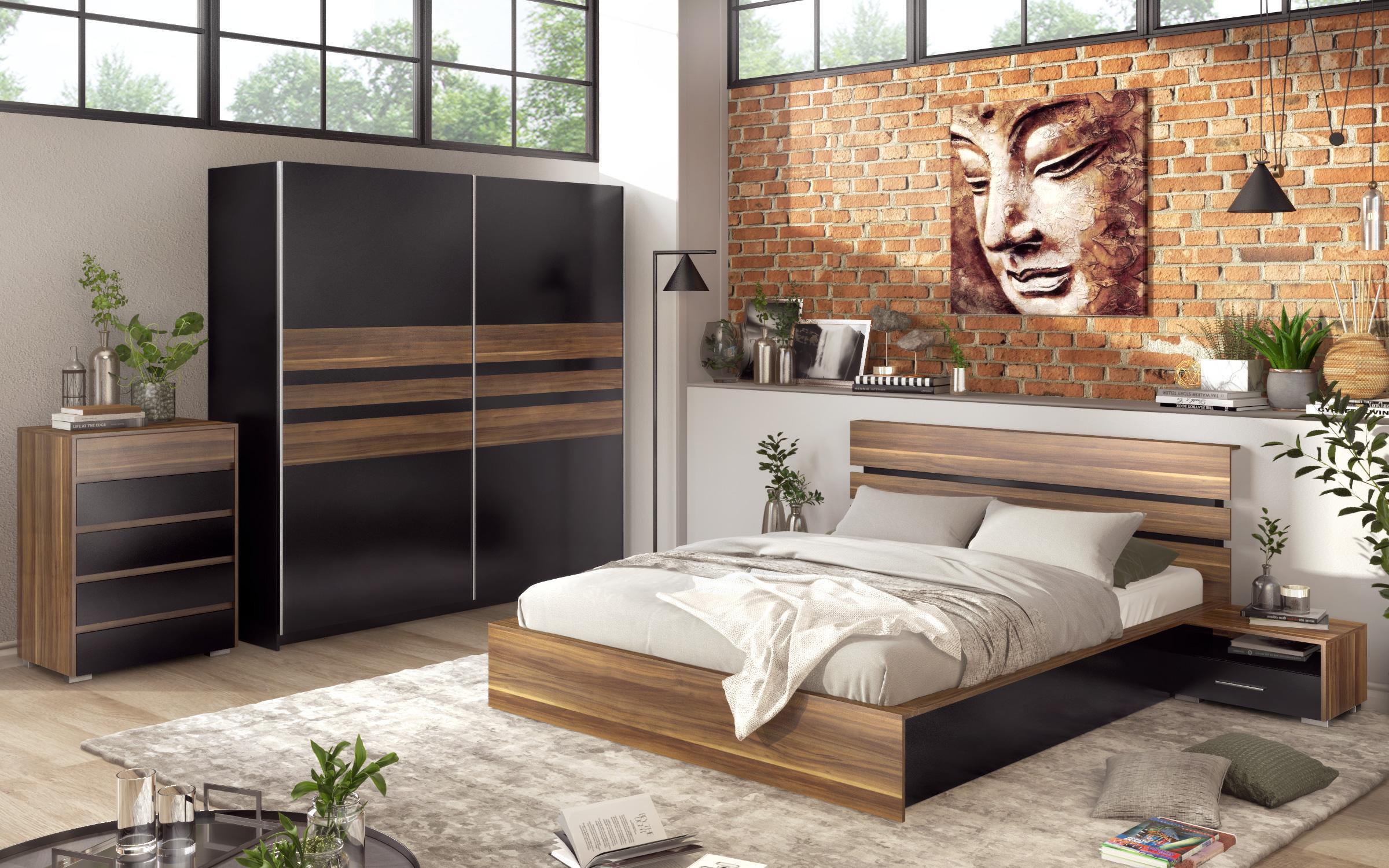 Спален комплект Сения , орех + черен гланц