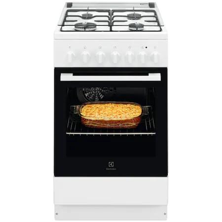 Готварска печка Electrolux LKK520002W, Комбинирана, 4 газови котлона, Мултифункционална електрическа фурна, Интегрирано запалване, Електрически Grill, Клас A, 50 см, Бял