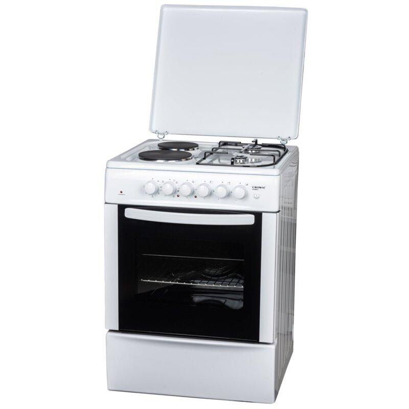 Готварска печка Crown CR-6060V , 2 газ 2ток , Бял