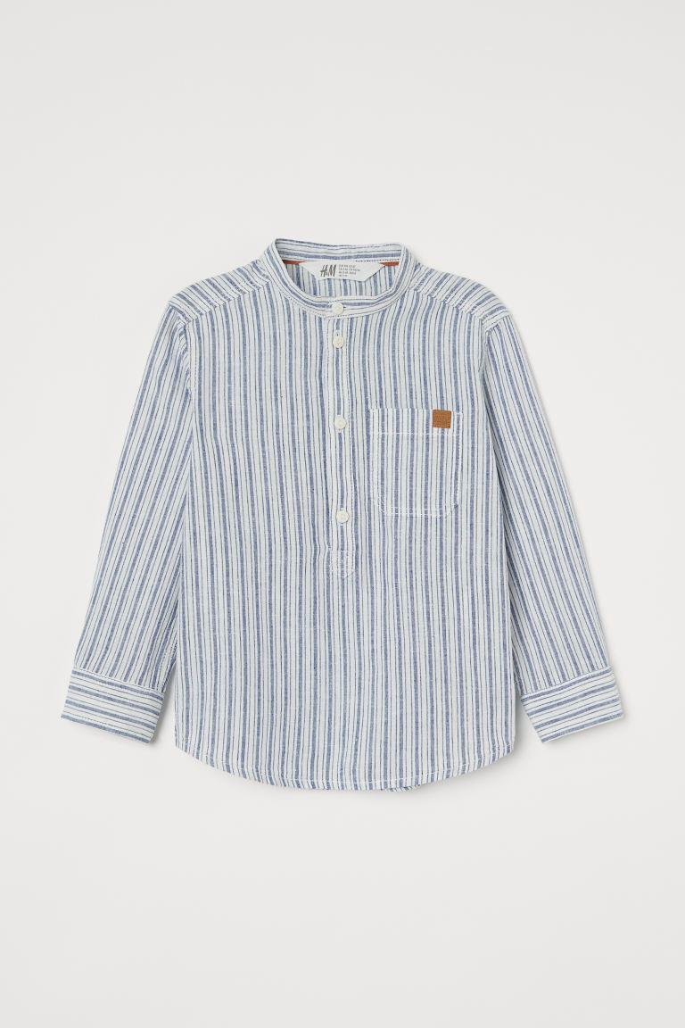 Риза HM от смесен лен с ниска яка