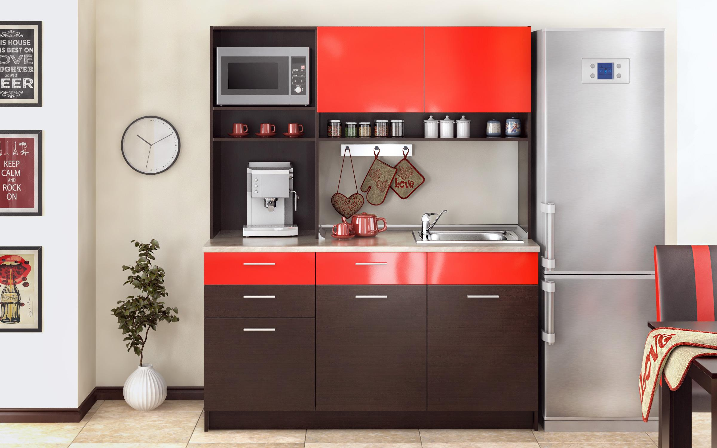 Кухня Зара , венге + червен гланц