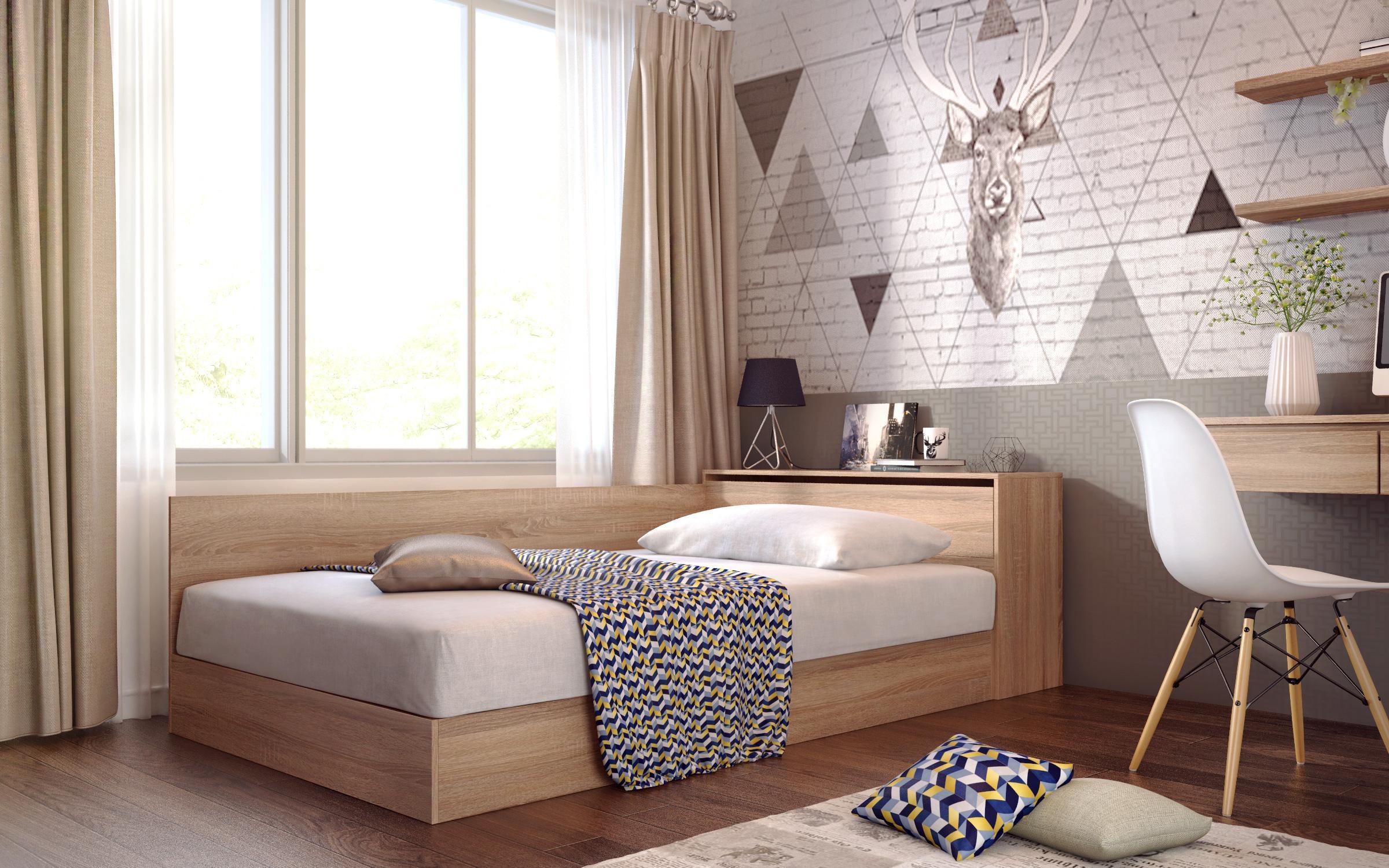Легло Приста с ракла + матрак Лео Класик 120/190 , дъб сонома