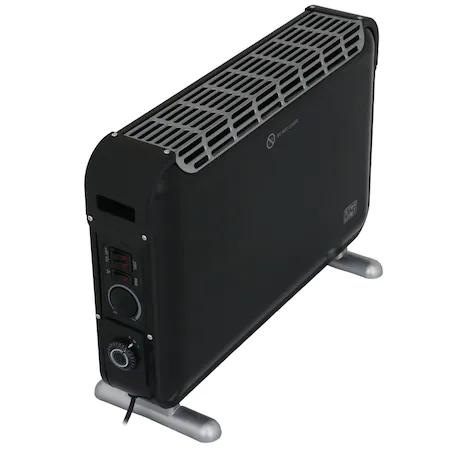 Електрически конвектор Star-Light CTJ2000BL, Подов, 2000W, 3 степени на мощност, Регулируем термостат, Вентилатор Turbo,Таймер, Черен