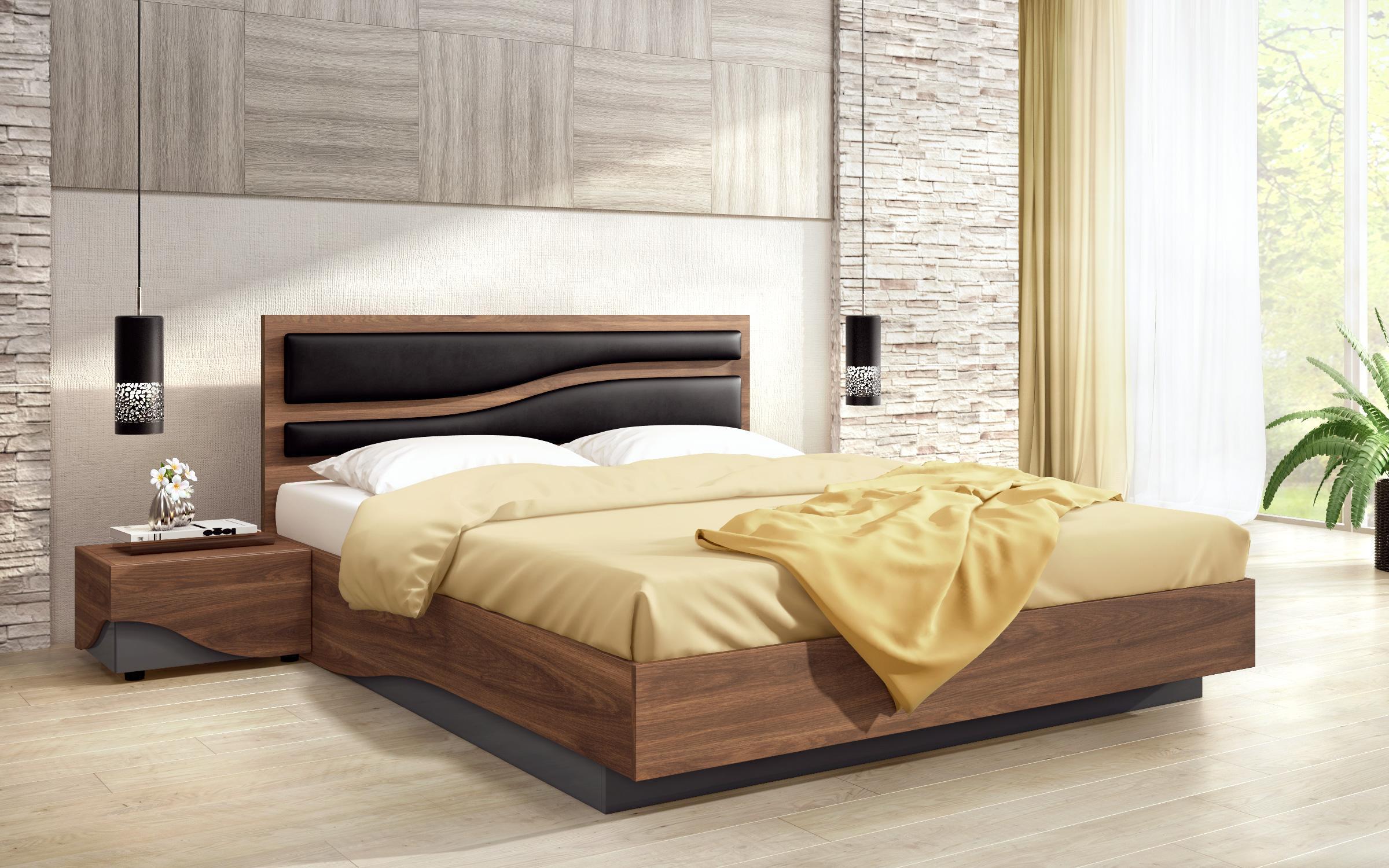 Спалня Онда + 2 броя нощни шкафчета , дъб коняк + антрацит гланц