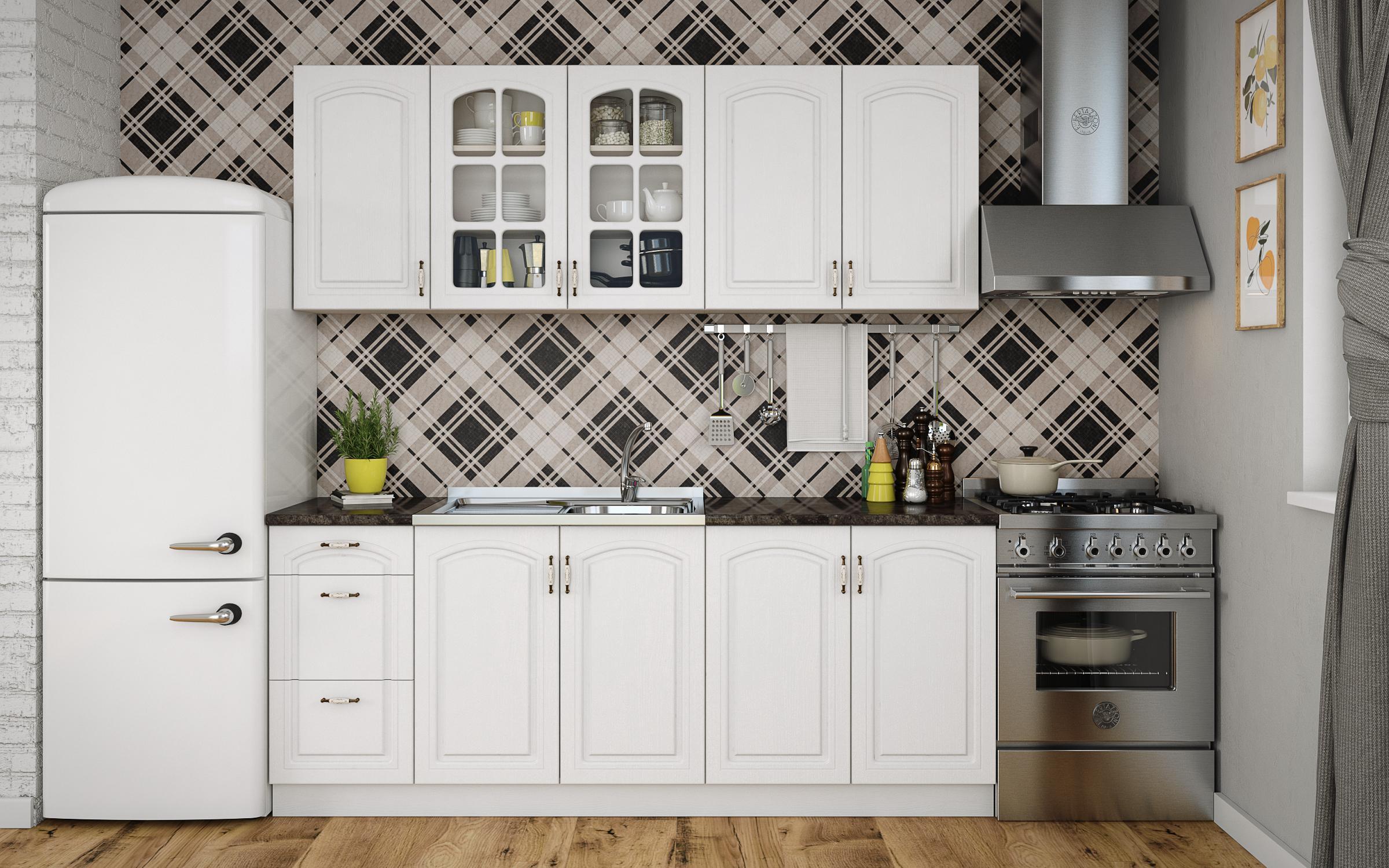 Кухня Мирела 2 метра , бяло текстура