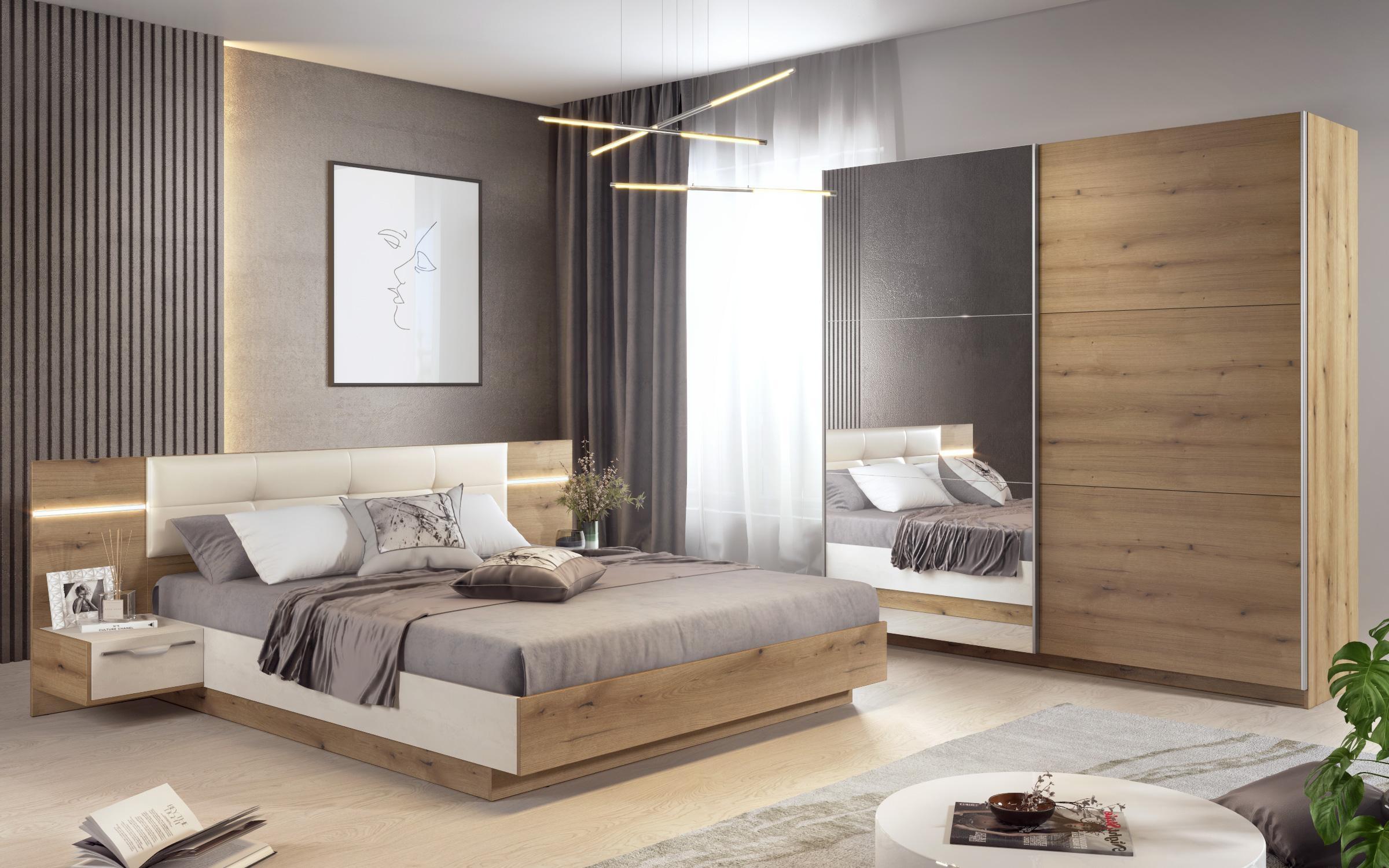 Спален комплект Алинор + LED , дъб евок + Silk